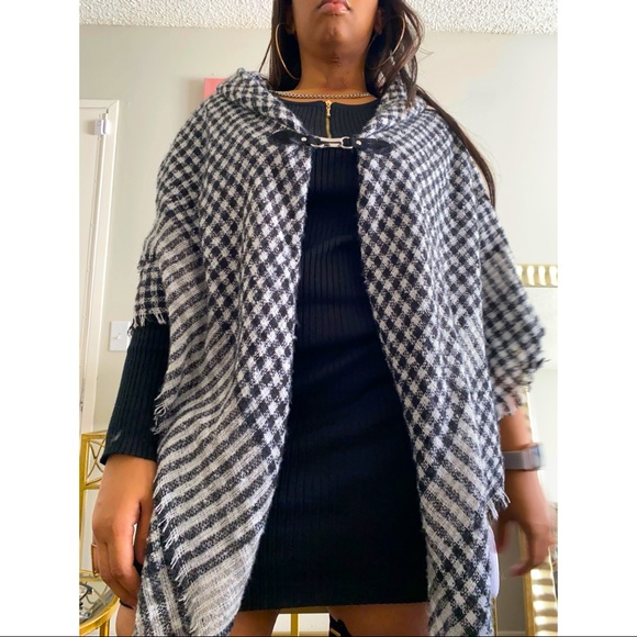 SOLD- Charter Club Plaid Scarf Cape